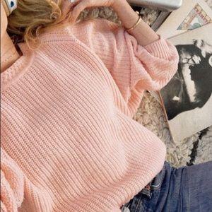 Carmen Marc Valvo Blush Pink Ribbed Sweater W Zip